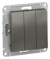 Schneider Electric ATLAS DESIGN 3-клавишный ВЫКЛЮЧАТЕЛЬ, сх.1+1+1, 10АХ, механизм, СТАЛЬ ATN000931