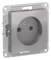 Schneider Electric ATLAS DESIGN РОЗЕТКА без заземления, 16А, механизм, АЛЮМИНИЙ ATN000341