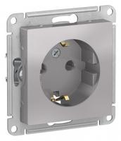 Schneider Electric ATLAS DESIGN РОЗЕТКА с заземлением, 16А, механизм, АЛЮМИНИЙ ATN000343