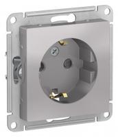 Schneider Electric ATLAS DESIGN РОЗЕТКА с заземлением со шторками, 16А, механизм, АЛЮМИНИЙ ATN000345