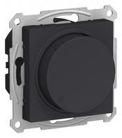 Schneider Electric ATLAS DESIGN СВЕТОРЕГУЛЯТОР (диммер) поворотно-нажимной, 630Вт, мех., КАРБОН ATN001036