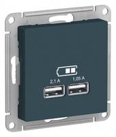 Schneider Electric ATLAS DESIGN USB РОЗЕТКА, 5В, 1 порт x 2,1 А, 2 порта х 1,05 А, механизм, ИЗУМРУД ATN000833