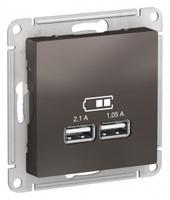 Schneider Electric ATLAS DESIGN USB РОЗЕТКА, 5В, 1 порт x 2,1 А, 2 порта х 1,05 А, механизм, МОККО ATN000633