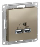 Schneider Electric ATLAS DESIGN USB РОЗЕТКА, 5В, 1 порт x 2,1 А, 2 порта х 1,05 А, механизм, ШАМПАНЬ ATN000533