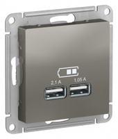 Schneider Electric ATLAS DESIGN USB РОЗЕТКА, 5В, 1 порт x 2,1 А, 2 порта х 1,05 А, механизм, СТАЛЬ ATN000933