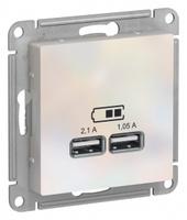 Schneider Electric ATLAS DESIGN USB РОЗЕТКА, 5В, 1 порт x 2,1 А, 2 порта х 1,05 А, механизм, ЖЕМЧУГ ATN000433