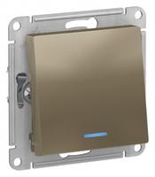 Schneider Electric ATLAS DESIGN 1-кл ПЕРЕКЛЮЧАТЕЛЬ с подсветкой, сх.6а, 10АХ, механизам, ШАМПАНЬ ATN000563
