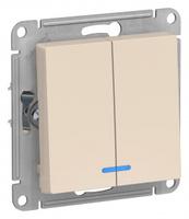 Schneider Electric ATLAS DESIGN 2-клавишный ВЫКЛЮЧАТЕЛЬ с подсветкой, сх.5а, 10АХ, механизм, БЕЖЕВЫЙ ATN000253