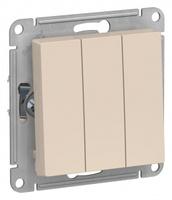 Schneider Electric ATLAS DESIGN 3-клавишный ВЫКЛЮЧАТЕЛЬ, сх.1+1+1, 10АХ, механизм, БЕЖЕВЫЙ ATN000231