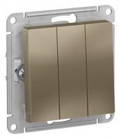 Schneider Electric ATLAS DESIGN 3-клавишный ВЫКЛЮЧАТЕЛЬ, сх.1+1+1, 10АХ, механизм, ШАМПАНЬ ATN000531