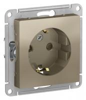 Schneider Electric ATLAS DESIGN РОЗЕТКА с заземлением со шторками, 16А, механизм, ШАМПАНЬ ATN000545