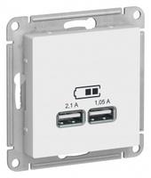 Schneider Electric ATLAS DESIGN USB РОЗЕТКА, 5В, 1 порт x 2,1 А, 2 порта х 1,05 А, механизм, БЕЛЫЙ ATN000133