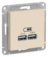 Schneider Electric ATLAS DESIGN USB РОЗЕТКА, 5В, 1 порт x 2,1 А, 2 порта х 1,05 А, механизм, БЕЖЕВЫЙ ATN000233
