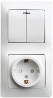 Schneider GLOSSA блок розетка с/з со шторкой+2кл выкл с подсветкой белый