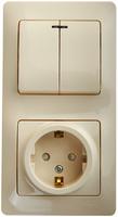 Schneider GLOSSA блок розетка с/з со шторкой+2кл выкл с подсветкой кремовый