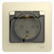 Schneider GLOSSA розетка с/з с крышкой/шторкой IP44 крем в сборе GSL000248