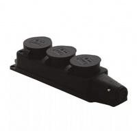 T-Plast розетка трехместная с заглушками каучук IP44 черная 31.01.308.0300