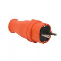 T-Plast вилка прямая каучуковая с заземлением IP44 оранжевая 31.01.301.2300