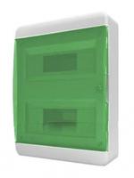 Tekfor бокс навесной 24 мод. IP, прозрачная зеленая дверца BNZ 40-24-1