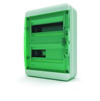 Tekfor бокс навесной 24 мод. IP65, прозрачная зеленая дверца BNC 65-24-1