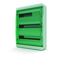 Tekfor бокс навесной 54 мод. IP65, прозрачная зеленая дверца BNZ 65-54-1