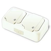 Viko Palmiye блок Розетка 2-я с крышкой IP54 открытая установка белый 90555488