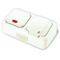 Viko Palmiye блок В1 с подсветкой+Розетка с крышкой IP54 открытая установка 90555499