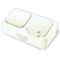 Viko Palmiye блок В1+Розетка с крышкой IP54 открытая установка белый 90555481