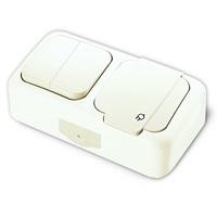 Viko Palmiye блок В2+Розетка с крышкой IP54 открытая установка белый 90555482