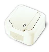 Viko Palmiye розетка с крышкой IP54 открытая установка белая 90555408