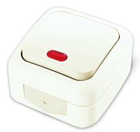Viko Palmiye выключатель 1 кл. с подсветкой IP54 открытая установка белый 90555419