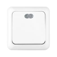 Выключатель 1кл с подсветкой о/у белая КЕРАМА 10А