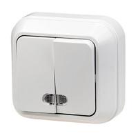 Выключатель 2кл с подсветкой о/у белая КЕРАМА 10А