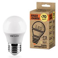 WOLTA Лампа светодиодная LED 25Y45GL7.5E27-P 3000K теплый белый свет